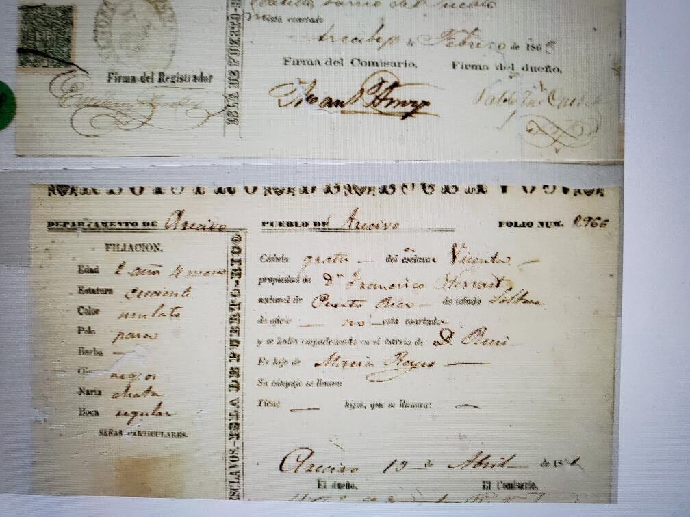 Foto del documento original que muestra el nombre de un esclavo traído de Puerto Rico a Carolina del Sur.