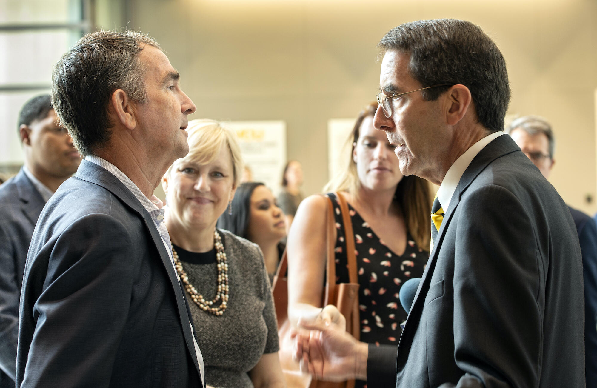 Virginia Gov. Ralph Northam, M.D., (left) talks with Art Kellermann, M.D., senior vice president for VCU Health Sciences and CEO of VCU Health System, during a visit to VCU's College of Health Professions on Thursday.