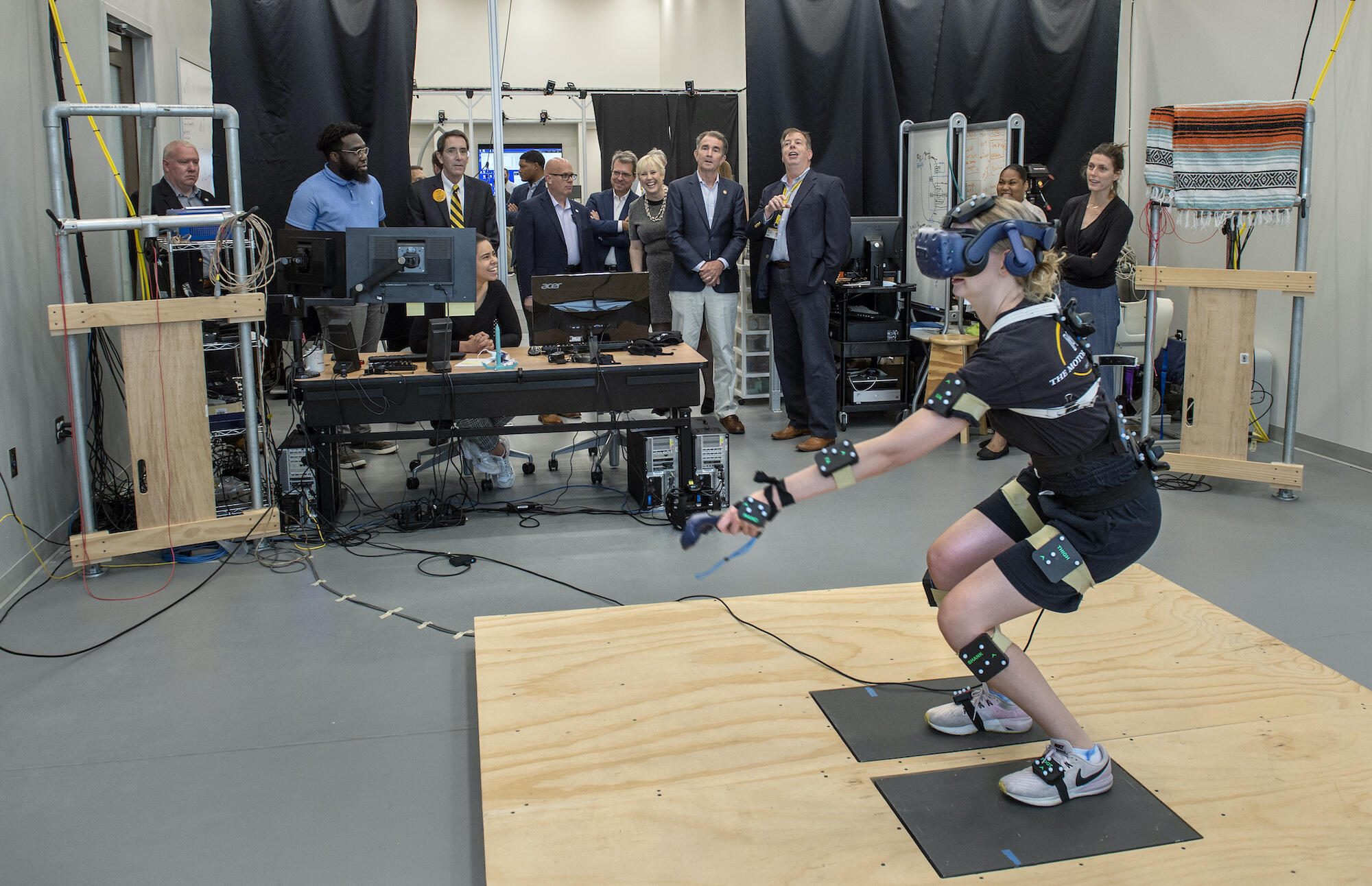Northam (in back) inside VCU's Motor Control Lab at the College of Health Professions