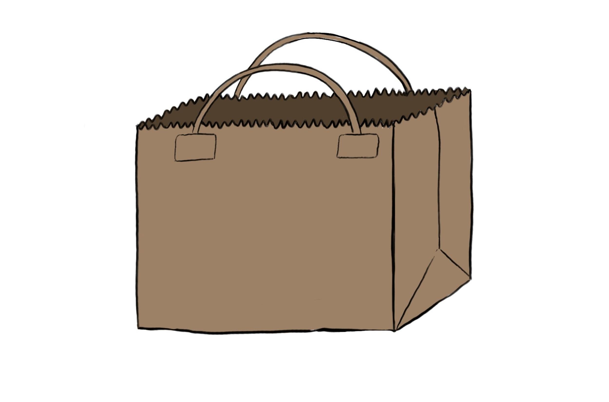 Ilustración de una bolsa de papel marrón